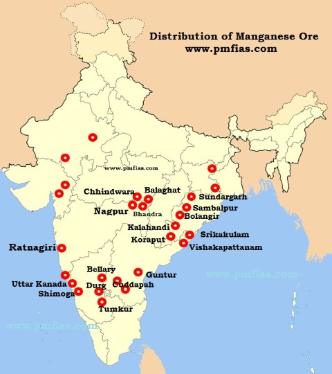 Manganese Ore Distribution in India