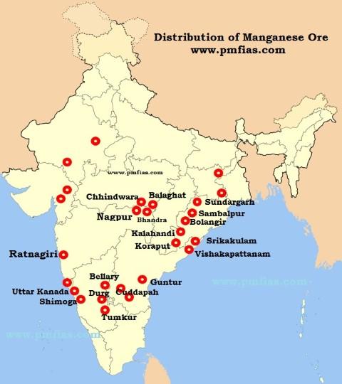 Manganese Ore Distribution across India amp World PMF IAS