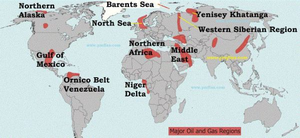 World distribution of Petroleum and Mineral Oil PMF IAS