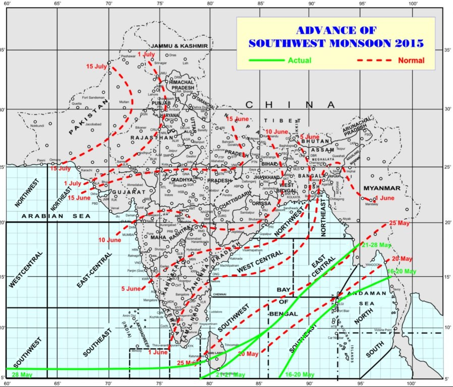 advance of south west monsoon