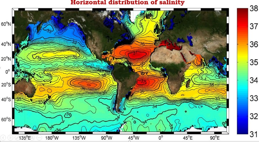 distribution of ocean salinity