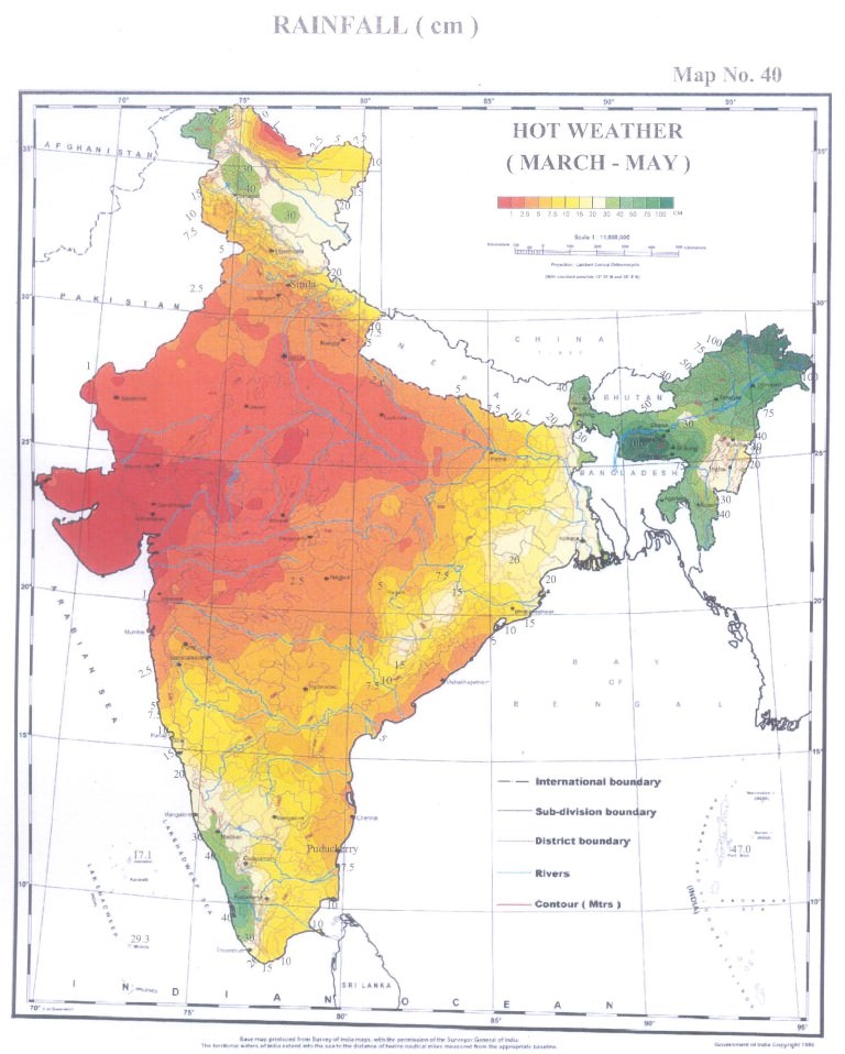 rainfall india march-may