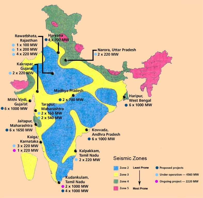 Nuclear Power Plants in India - Seismic zonesNuclear Power Plants in India - Seismic zones