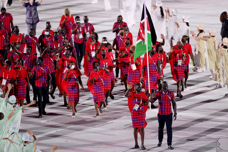 Kenyan Olympics team marches during the opening ceremony of the Tokyo Games. Image: Twitter/OLYMPICS