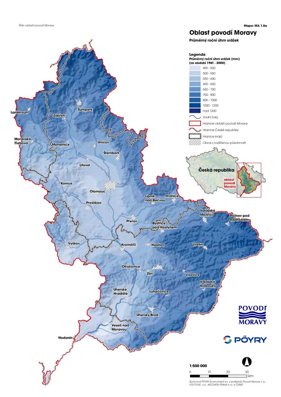 Výsledek obrázku pro povodí moravy území