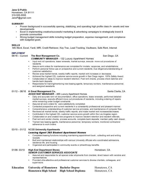 Sample Resume | Property Management Personnel, Inc