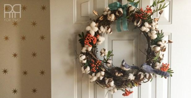 cotton bud fall wreath on door
