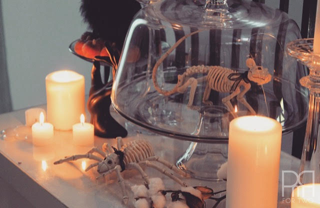 halloween entryway decor with candle