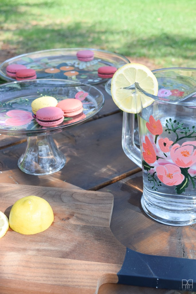 outdoor table with Painted Florals on Glassware