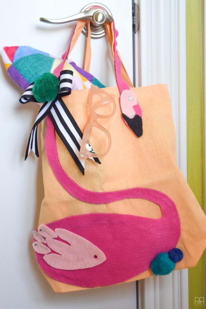 Felt Flamingo tote Bag