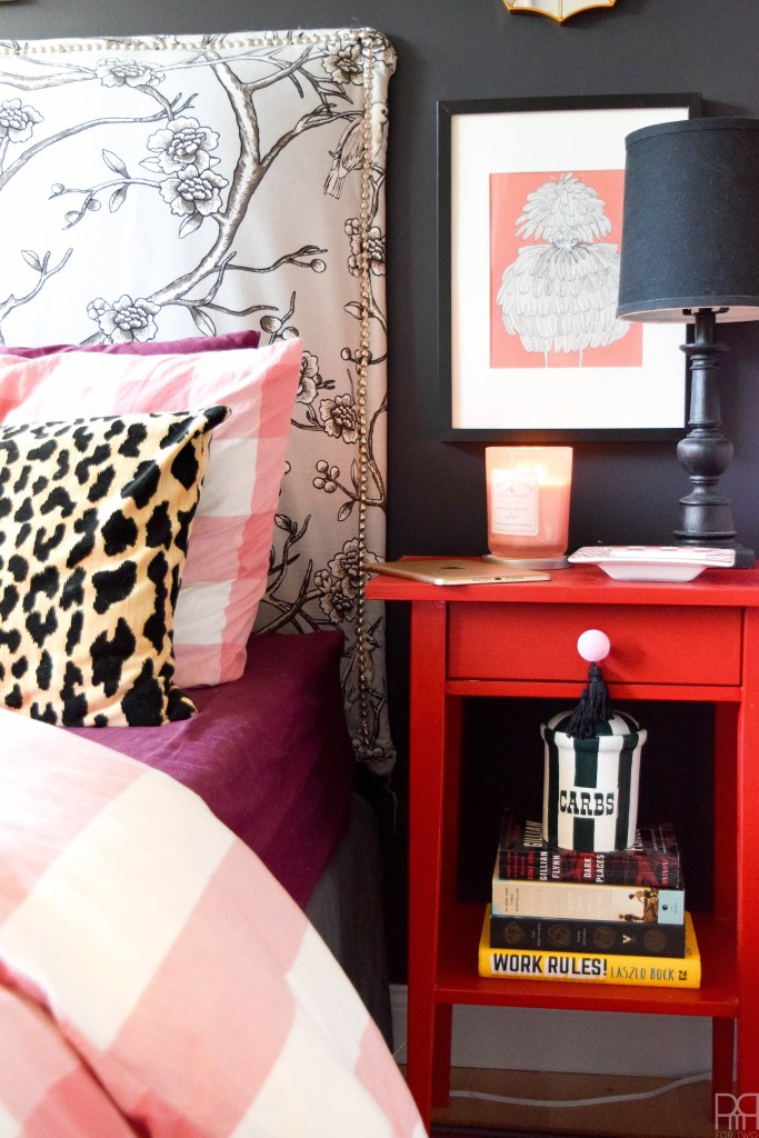 A Black & Bold master bedroom that shines in a rental house. Bold accents and saturated hues complete this space.