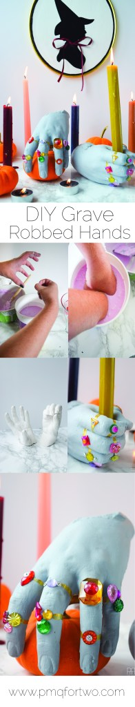 DIY Grave Robber Hands for a spooky piece of Halloween decor. Using plaster hand casts, paint, and little gemstones you can make some spooky things!