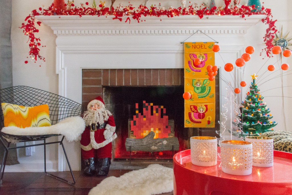 An MCM Christmas Tour with Collected Home fireplace