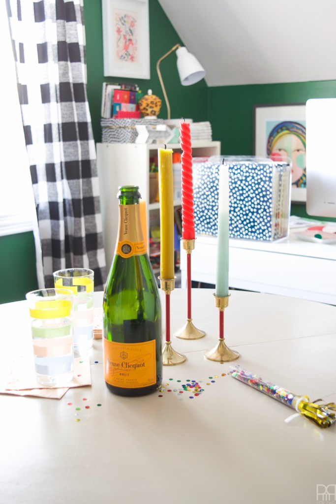 Home Office Reveal - The Green Grotto champagne bottle