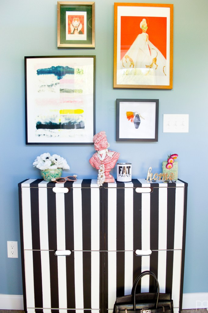 Black and White Stripe IKEA Shoe Cabinet Hack