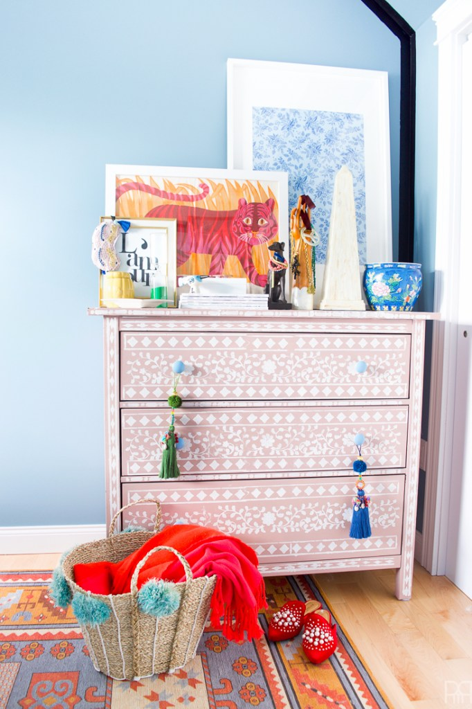 DIY Bone Inlay Stencilled Dresser