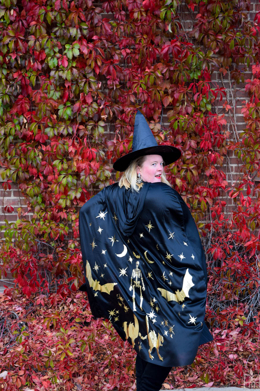 back of gold & black with cape, in front or red brick wall