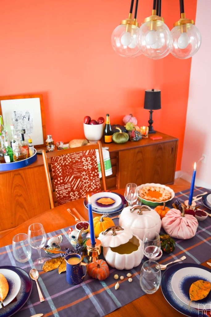 Plaid and Eclectic Tablescape for fall