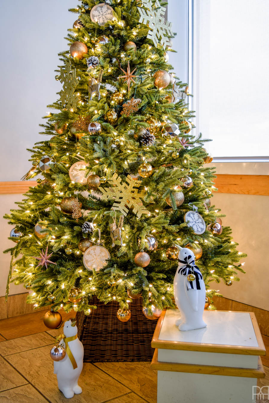 With the help of Canadian Tire we created a gold and copper Christmas tree for the DEC Hospital cafeteria