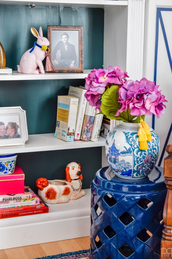 Curated Spring Living Room Decor book case