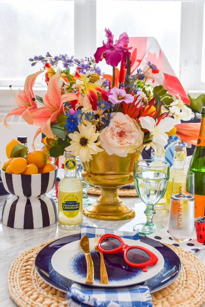 Canada Day Blue & Floral Tablescape