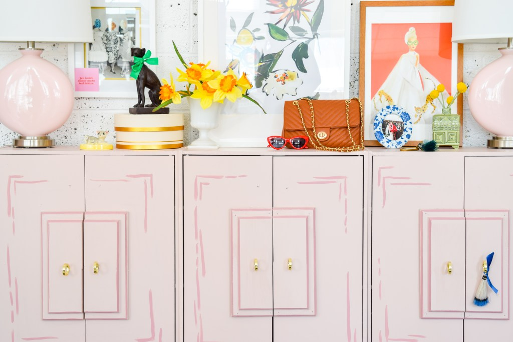 Wes Anderson Inspired Entryway Console pink