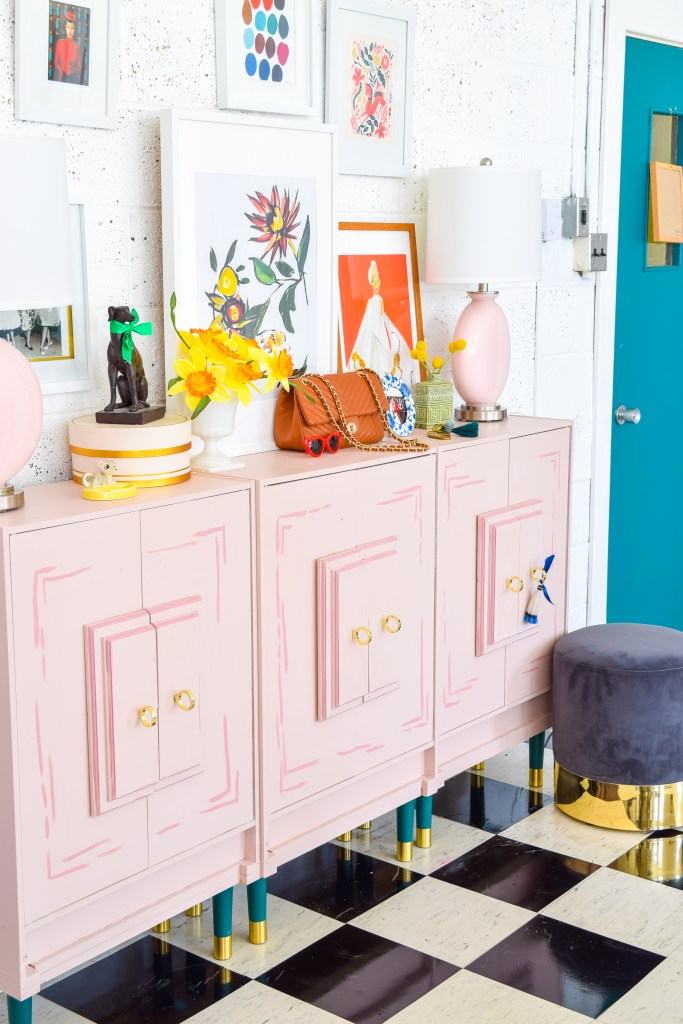 Create a Wes Anderson Inspired Entryway Console with a fresh coat of paint, new lamps, and Pretty Pegs. With these slick new Swedish mid century furniture legs + knobs, you can re-format any piece, while the new Color Plus lamps are the perfect shade for the space.