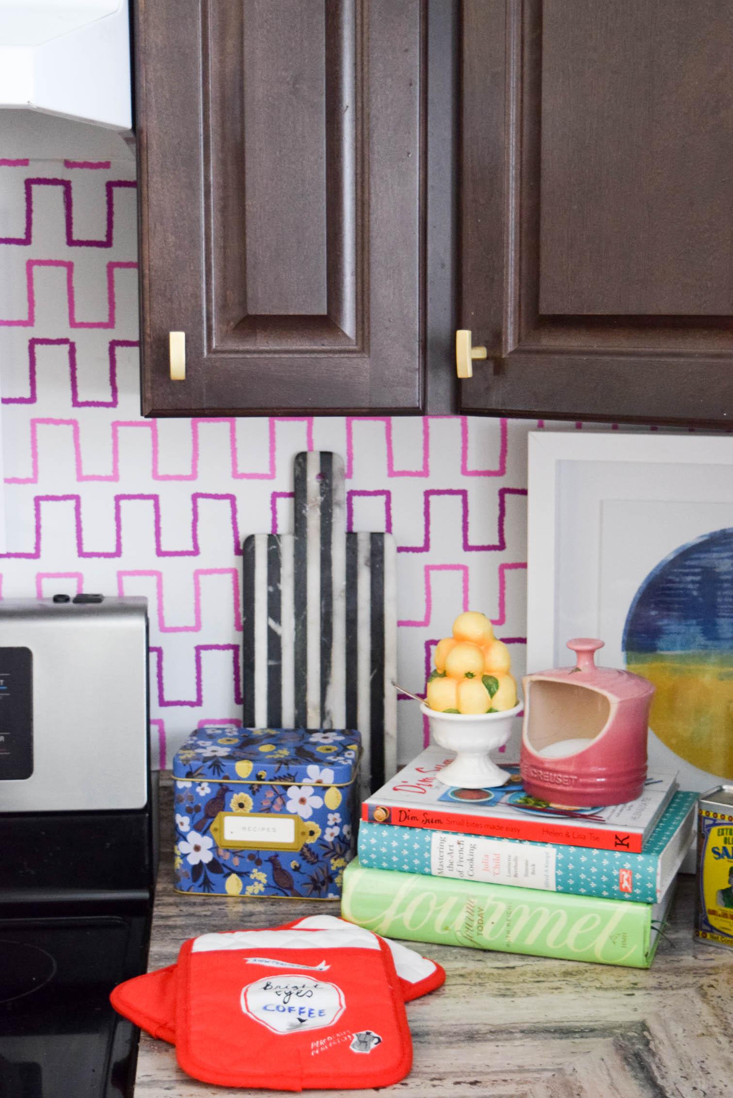 detail shot of wallpaper kitchen backsplash