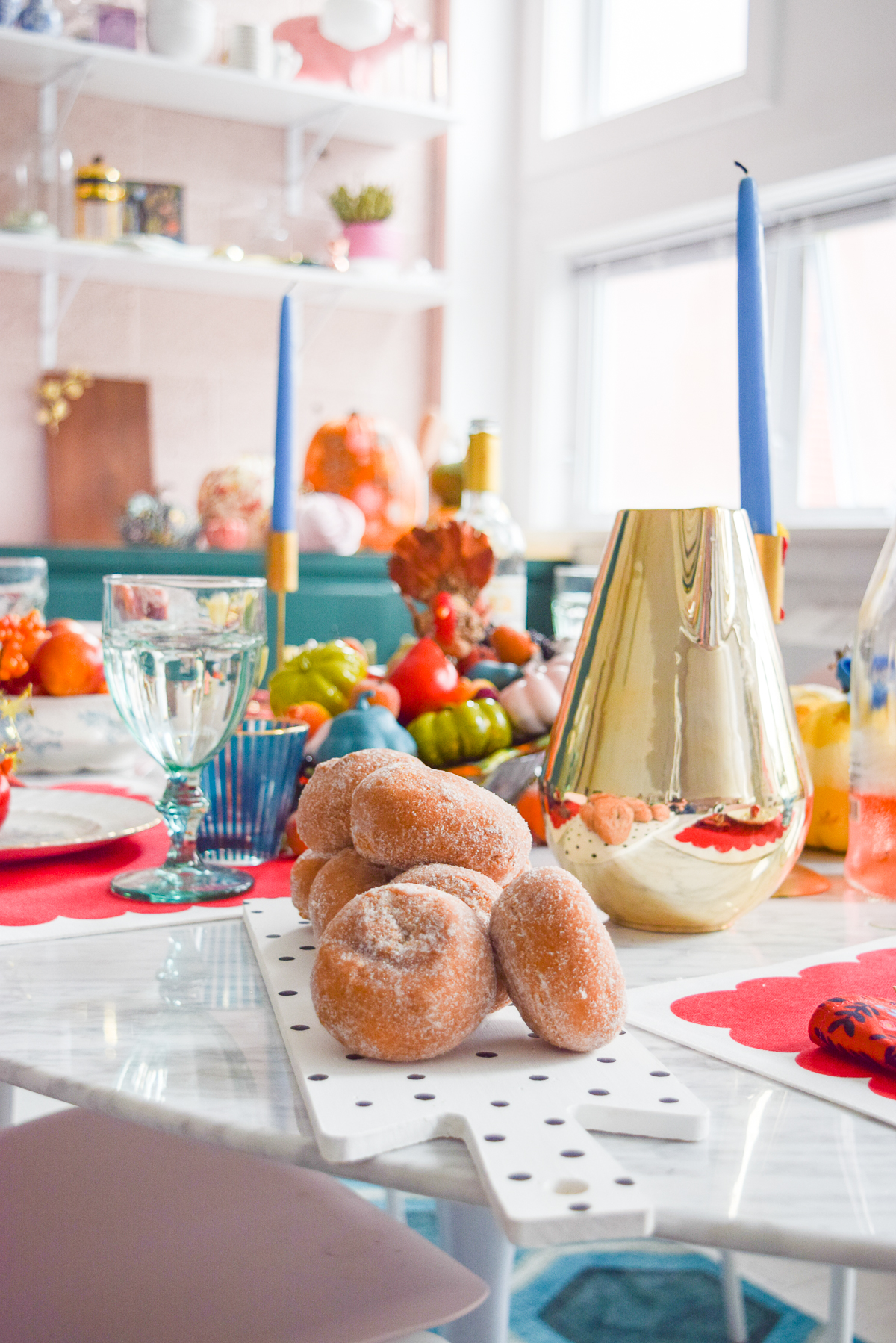 eye level shot of a colourful table setting