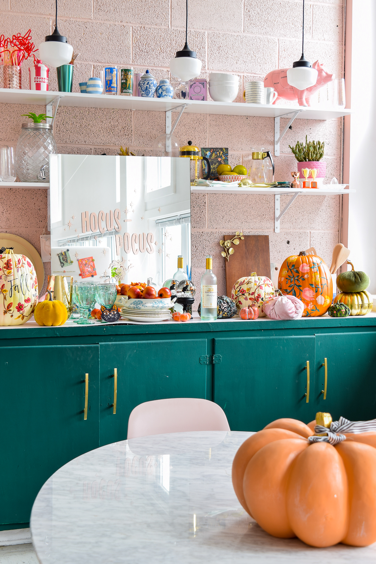 colourful fall decor in a kitchen