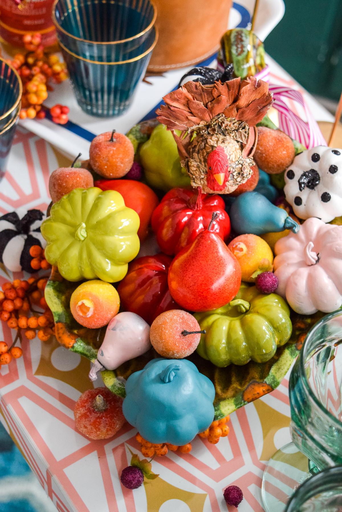 colourful fall cornucopia fall centrepiece