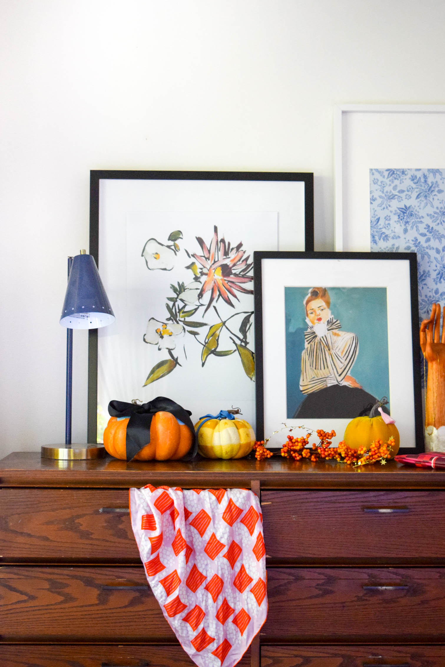 dresser top decorated for fall