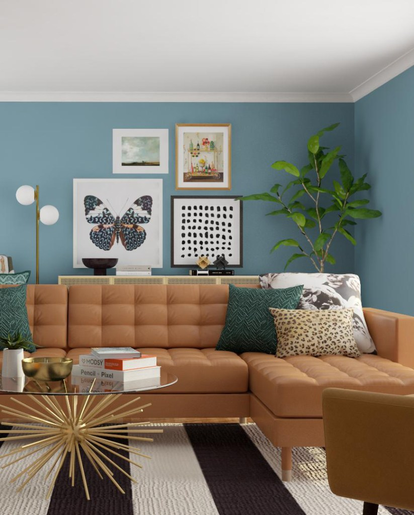Design Plans for a Mid Mod Eclectic Living Room
