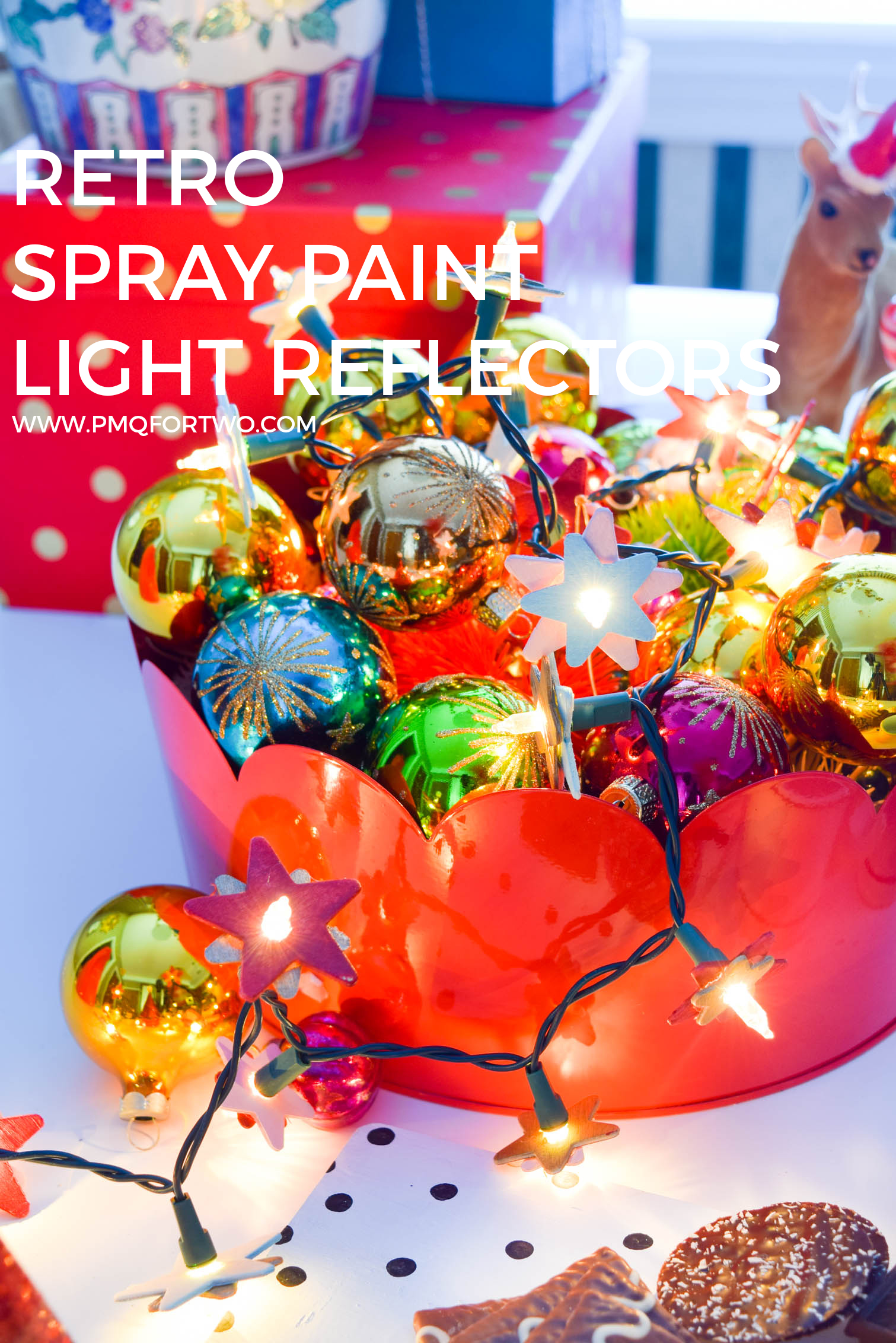 Can't find the real thing? DIY Retro Spray Paint light Reflectors are how you get the look for less in an afternoon. All you need is krylon's line of spray paints, and a string of lights.