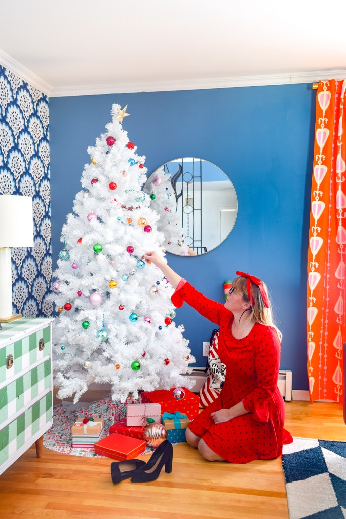 Retro & Colourful Christmas Living Room