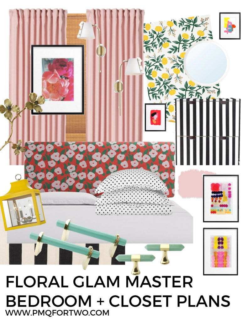 Floral Glam Master Bedroom + Closet Plans