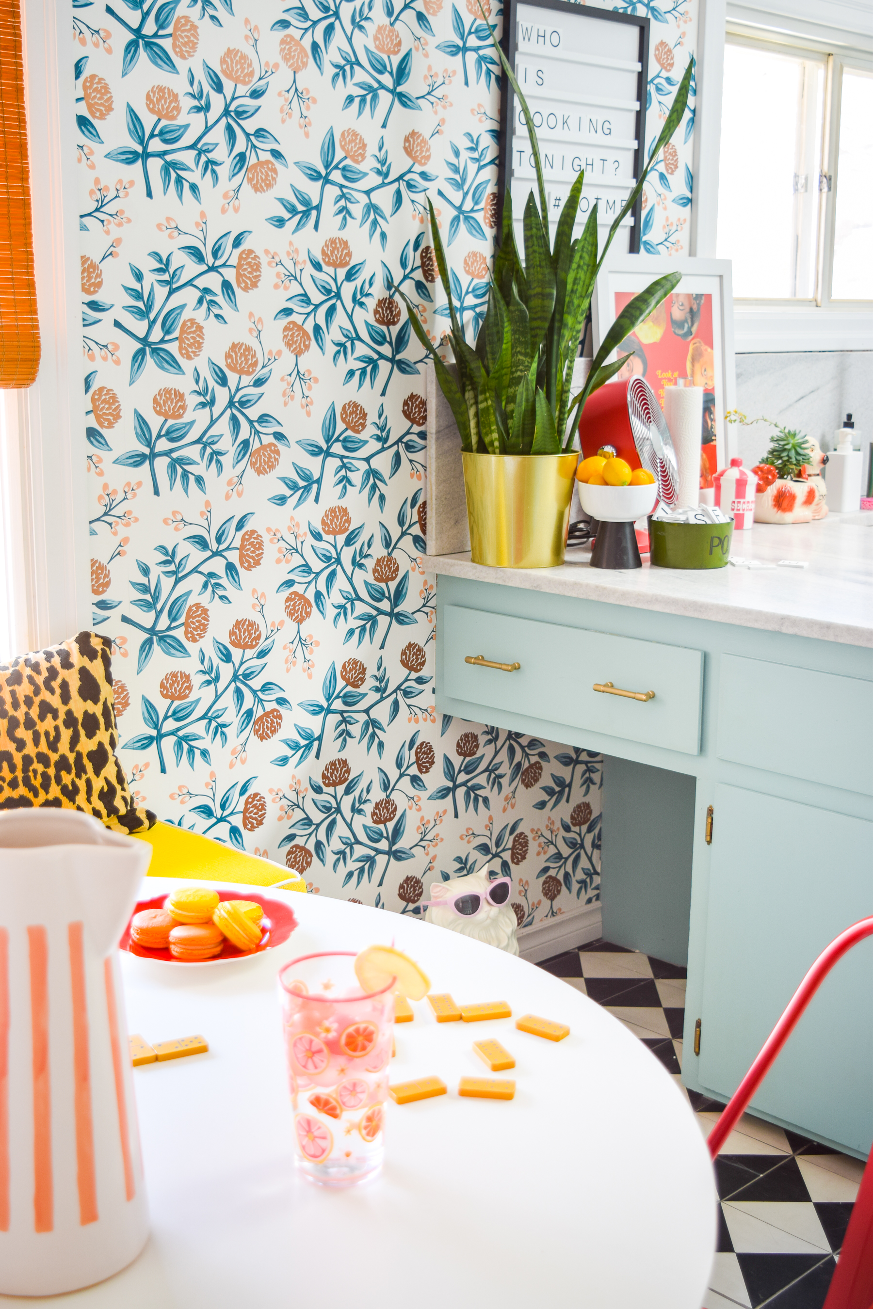 Our retro glam kitchen renovations are done! Come see how we transformed our dated kitchen, into a modern oasis, full of colour and pattern.
