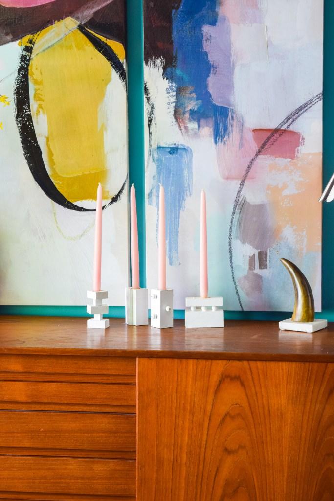 DIY Modern Wood Candlestick Holders