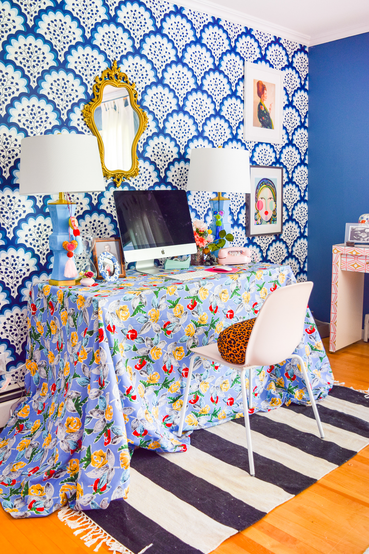 Sewing a DIY Table Skirt for a desk, is a great way to hide a tired and old work station. It's easy to sew, and adds a pop of pattern to any space.