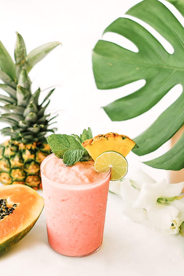 Watermelon Papaya Rum Smoothie by Sugar & Cloth