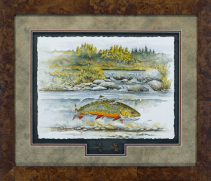 "Cover art of ""Water Songs"" by David Ruimveld. This original was created on watercolor paper and framed with two of Bob Linesnman's flies in a shadow box style. This was framed with acid free material and Conservation Clear glass in a burl frame. The frame size is 24"" x 28""."