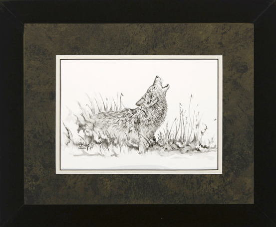 """David Ruimveld art for the chapter entitled """"The Coyote Cup"""" within Bob Linsenman's book """"Water Songs."""" This original black and white painting is framed with a textured black & gold matting and a white inner mat in black frames. Conservation clear glass. Frame size is 13"""" x 18""""."""