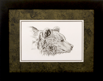 "David Ruimveld art for the chapter entitled ""Saving Sergei"" within Bob Linsenman's book ""Water Songs."" This original black and white painting is framed with a textured black & gold matting and a white inner mat in black frames. Conservation clear glass. Frame size is 15"" x 19""."