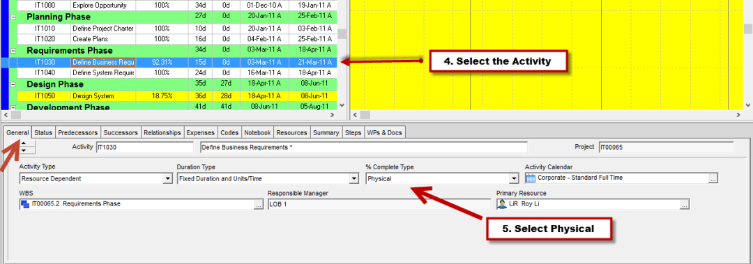 Activity steps in Primavera P6- Select the Activity