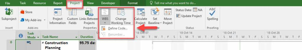 Creating WBS Codes in Microsoft Project 2016 -3