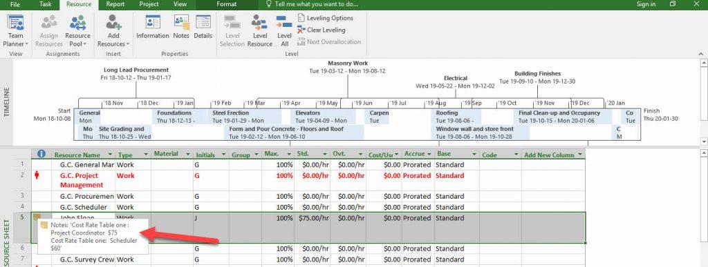 Microsoft Project 2016- Managing Resource Sheet
