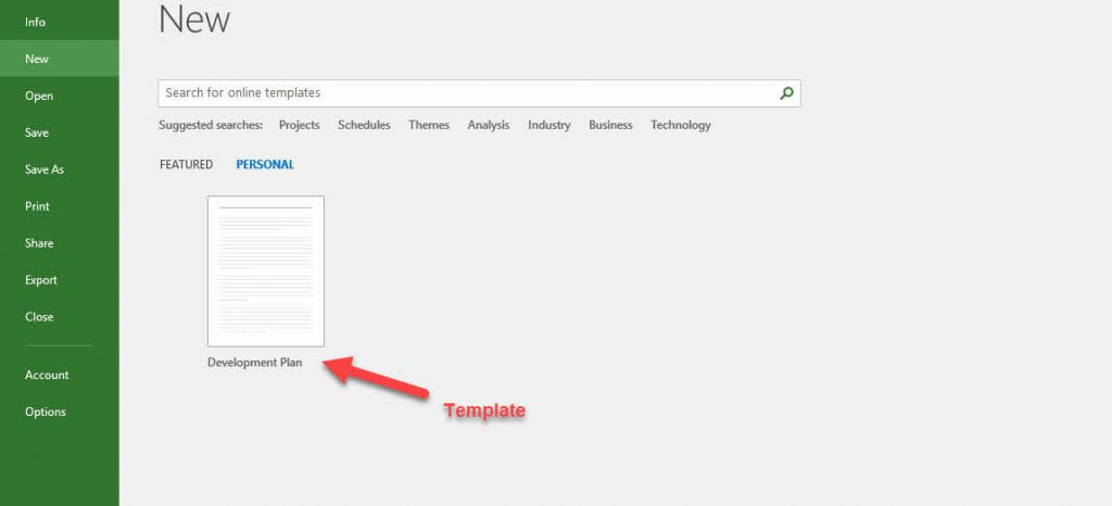 Creating a New Project from a Template in MS.Project