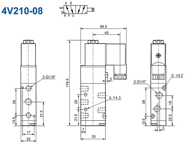 5/2 way Airtac Solenoid Valves 4V210-06,4V220-06,4V230-06