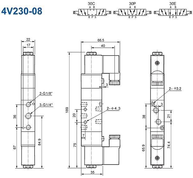 0.15~0.8MPa F Class Insulation Airtac 4V230-08 5/2,5/3 Way