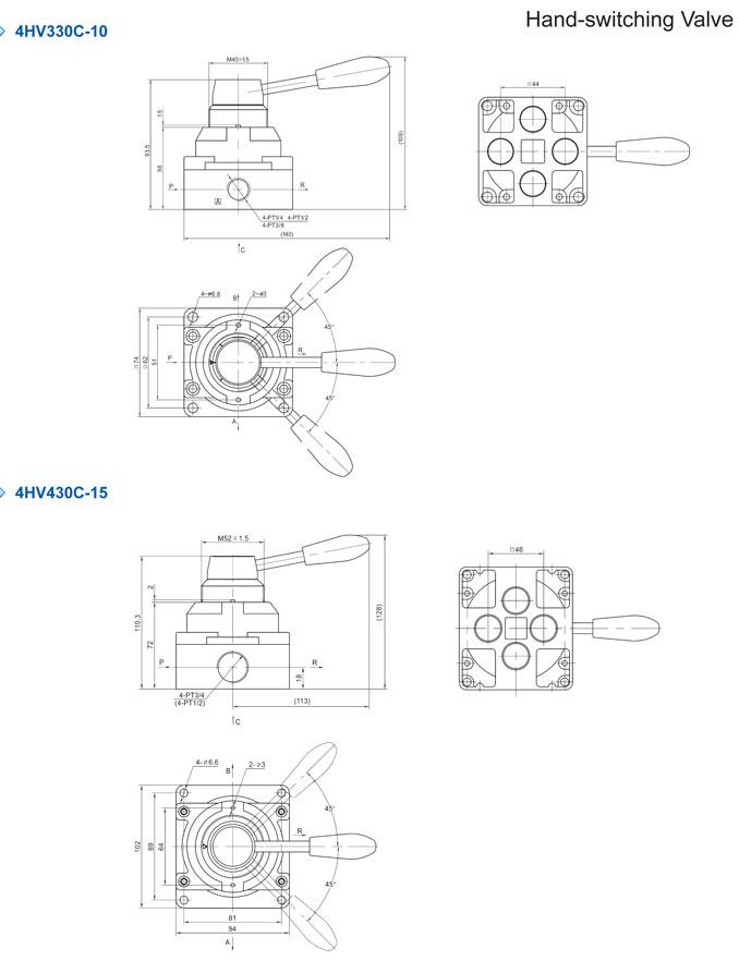 4/2,4/3 way Hand Rotary Pneumatic Manual Valve 4HV230-06